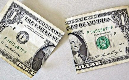photograph of a one dollar bill torn in half