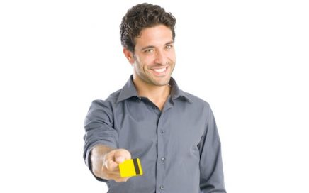 Man offering store credit card