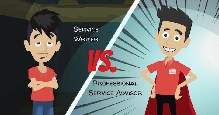 disheveled service writer vs a superhero professional service advisor