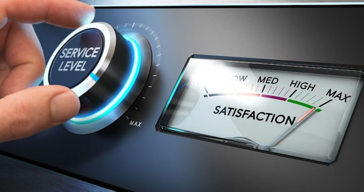 54181602 - hand turning a service level knob up to the maximum with a dial where it is written the word satisfaction. concept image for illustration of key performance indicator, kpi or customer loyalty.
