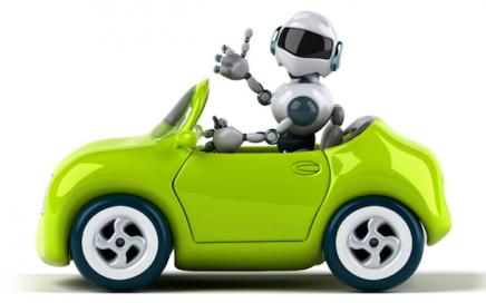 Robot driving a green car